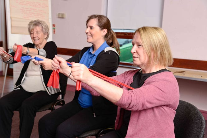 three ladies in a row with resistance bands doing chair based exercises